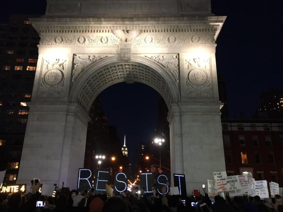 People attended the rally hosted by the Council On American-Islamic Relations in Washington Square Park in light of President Donald Trump's ban on immigrants from countries with a high Islamic population.