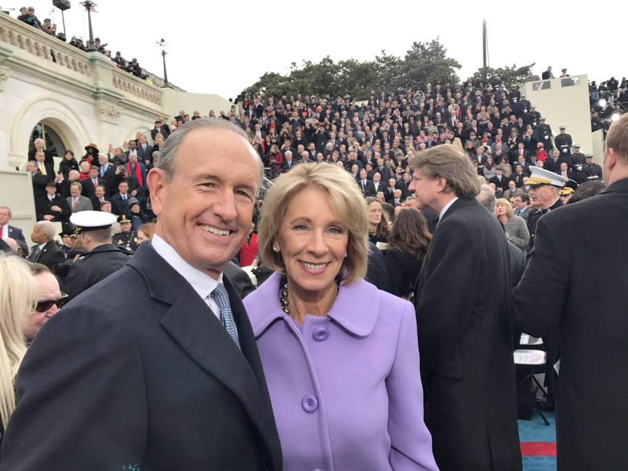 Betsy DeVos (center) at Donald Trump's presidential inauguration.