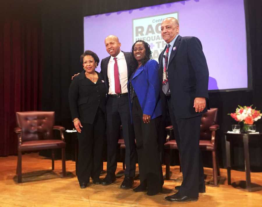 From left to right, former Attorney General Loretta Lynch, NYU Law professor Bryan Stevenson, Sherrilyn Ifill and Tony Thompson at the Center on Race, Inequality and the Laws Inaugural Conversation.  This event took place in the Greenberg Lounge of the NYU Law school on February 27 to discuss the effects of racial bias and economic inequality.