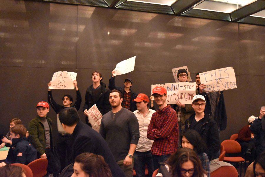 Protestors shut down the College Republicans guest speaker Gavin McInnes.