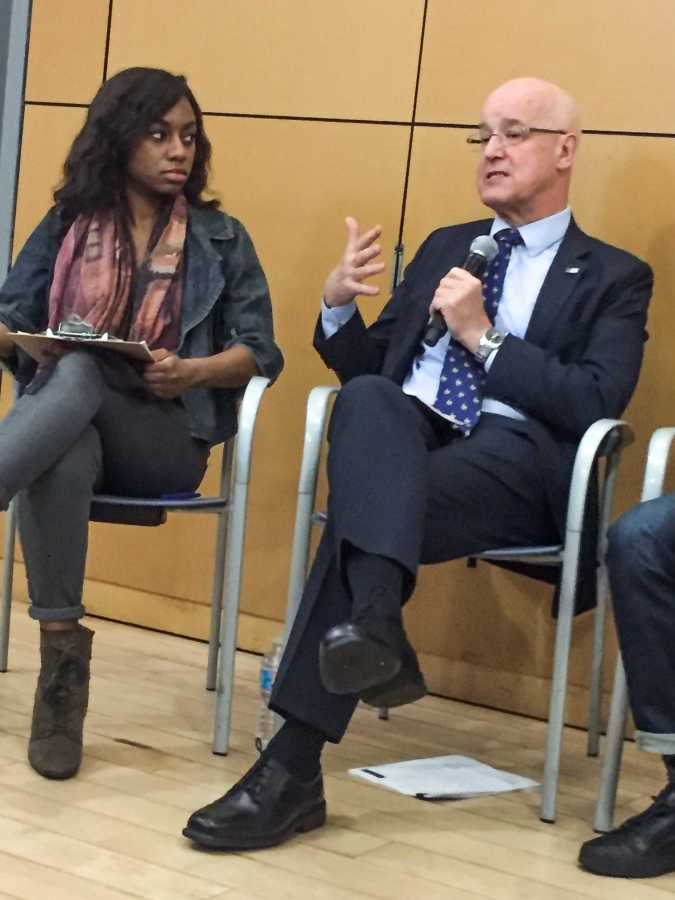 NYU President Andrew Hamilton speaks at a town hall held today, Wednesday, March 1st, 2017. The Sanctuary Campus movement marched on the event to demand Hamilton declare NYU a sanctuary campus for undocumented students.