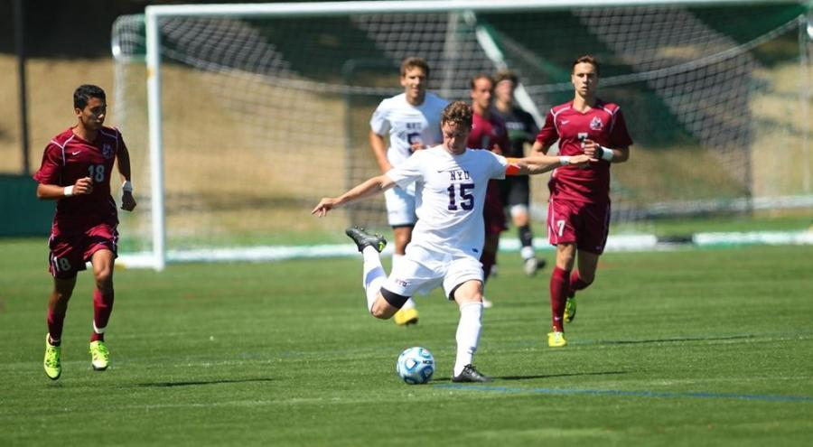 The NYU Men's Soccer Team 2015 season final against Brandeis University. The current team captain, Bryan Walsh, claims Brandeis is their main rival.