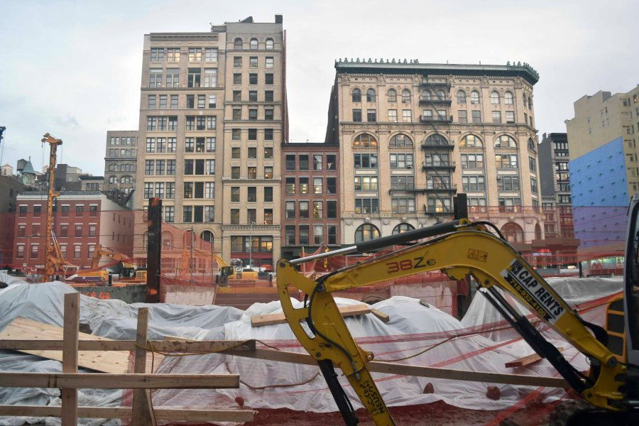 The building at 181 Mercer is in the early stages of construction. NYU has resumed construction at the site after New York State deemed school projects essential. (Photo by Corey Rome)