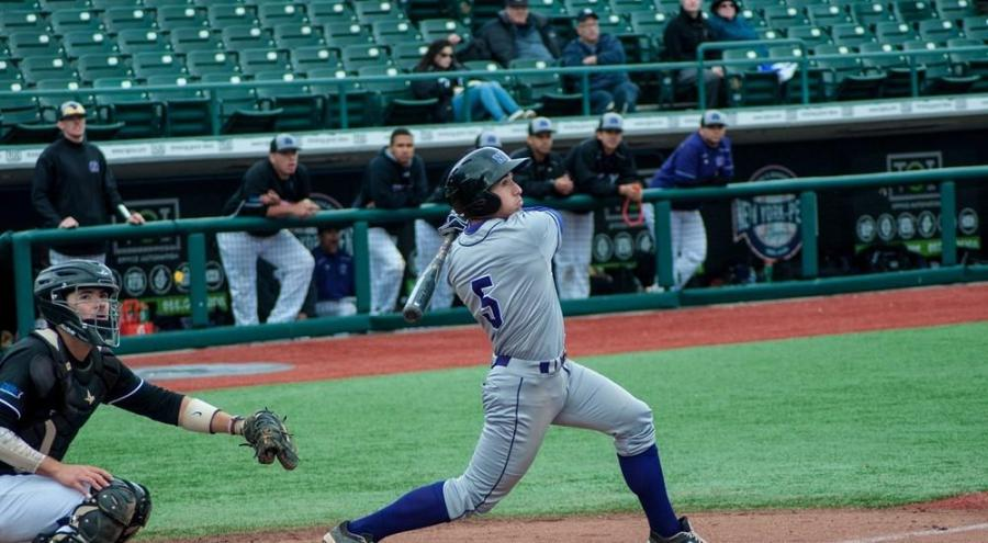 Adrian Spitz batting during the NYU baseball team's spring break tournament in Florida, March 20. Spitz transferred to NYU from Northeastern in 2015, and has earned honours from the University Athletic Association and the Eastern College Athletic Conference among others.