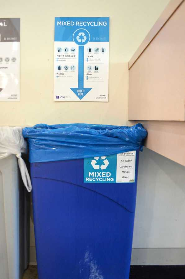 NYU claims to have a deep commitment to recycling. However, janitors are often spotted dumping recyclables and trash together.