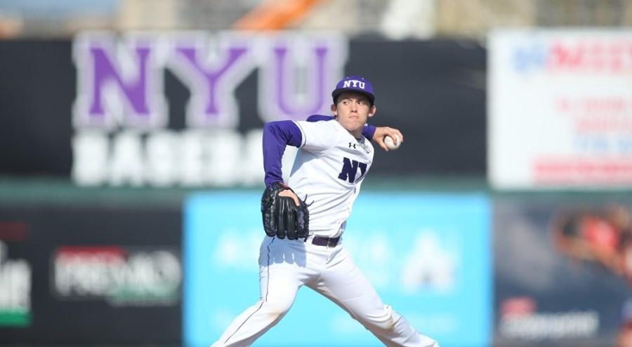 GLS sophomore Eli Edwards pitched for the NYU baseball team against Emory University on Saturday. NYU lost both games.