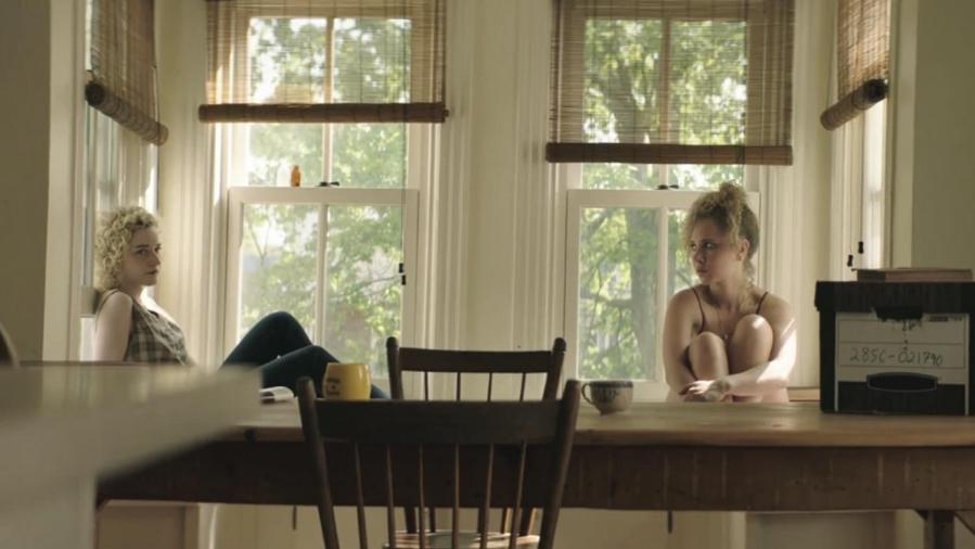 """Juno Temple and Julia Garner as Iris and Catherine, in Liz W. Garcia's truthful portrait of women's guilt and loss, """"One Percent More Humid."""""""