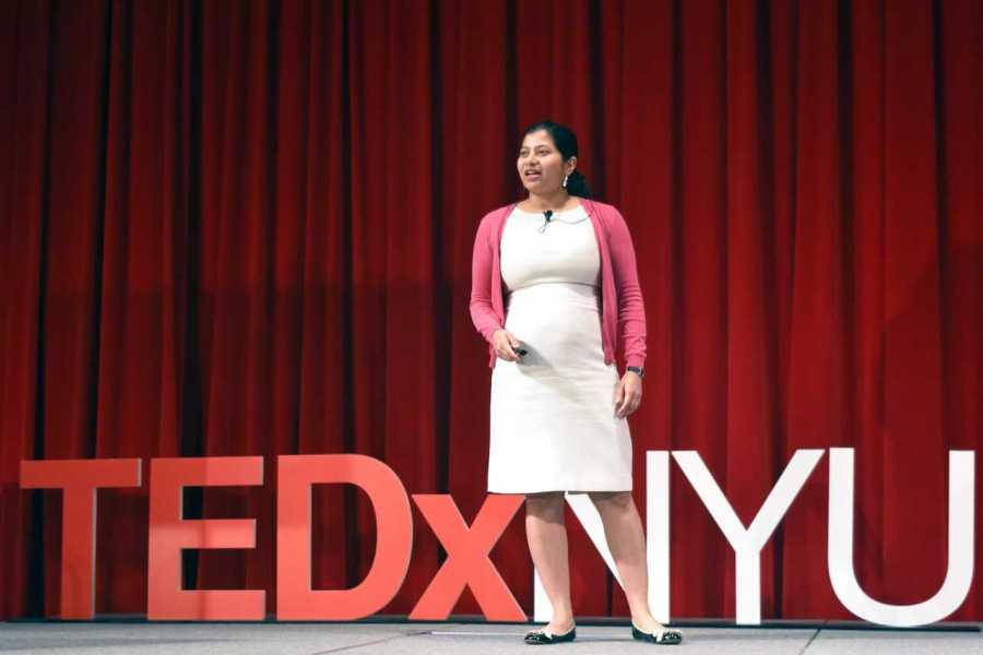 NYU professor Jayeeta Basu spoke about neuroscience at the TEDxNYU conference on April 8th.