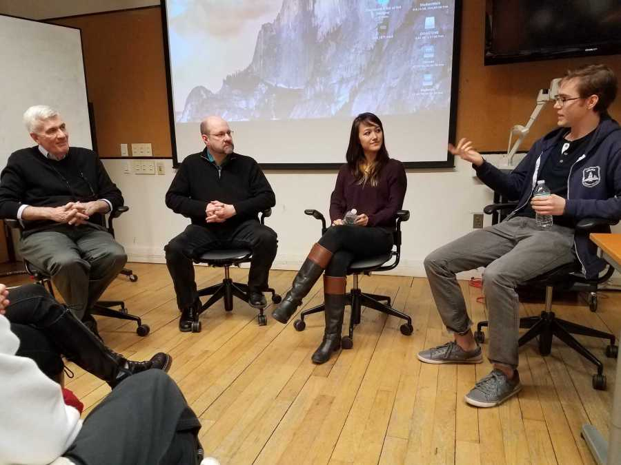 From left to right, Professor John Canemaker, Professor Dean Lennert, Disney storyboard artist Isabelle Gedigk and Dreamworks 3D animator Garrett Lewis discuss how the animation industry is like. The event, hosted by the Student Animation League, occurred on March 29.