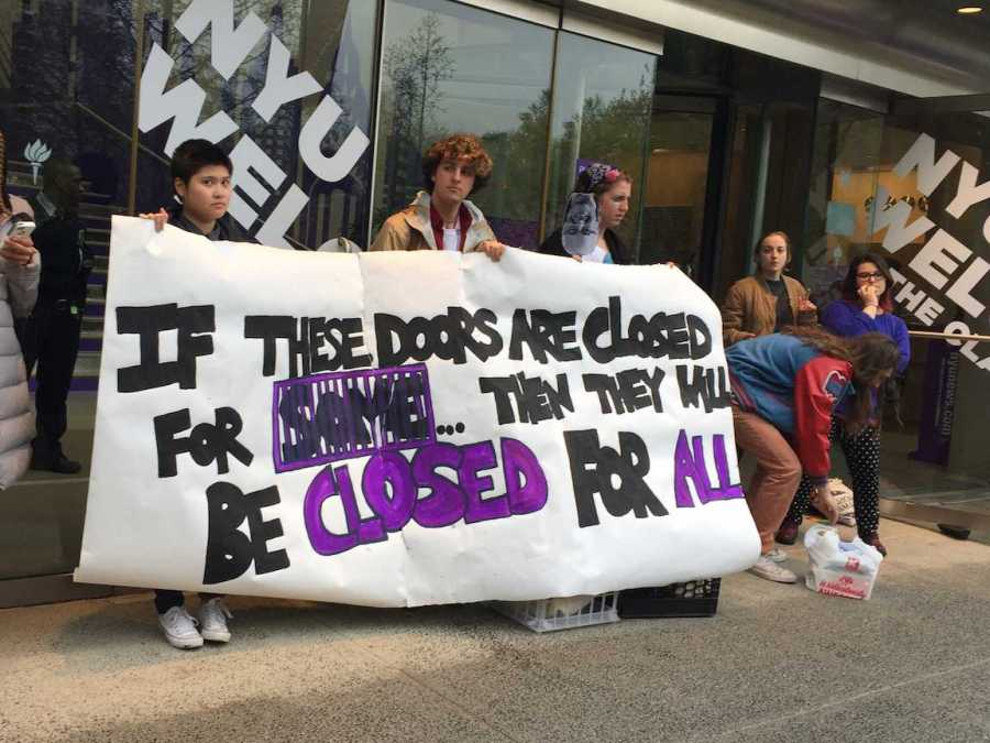 During Weekend on the Square, the Incarceration to Education Coalition protested in front of Kimmel, gaining the attention of the university and prospective students. IEC aims to remove the checkbox on college applications to indicate whether the applicant has been convicted of a crime.