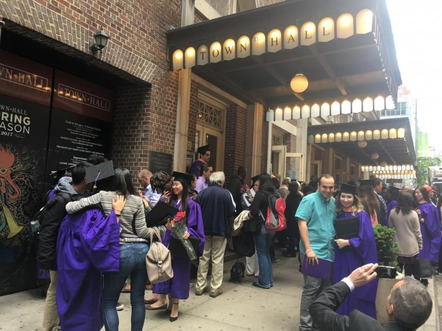 Students and loved ones celebrate after the closing of the 2017 College of Global Public Health Commencement ceremony. The ceremony was held at New York's historic Town Hall, home to many iconic moments in social justice.