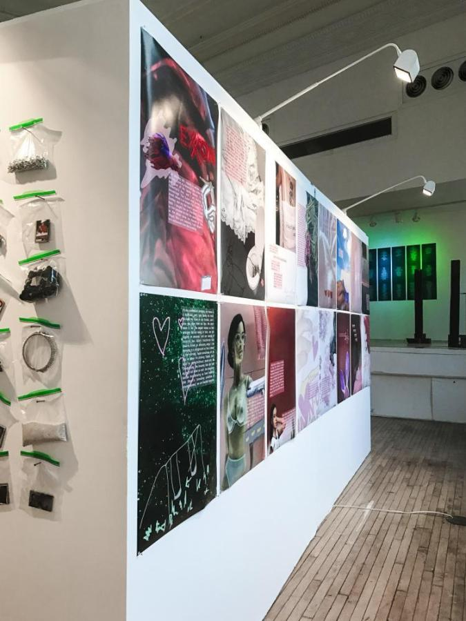 """The new art exhibit by NYU students Nathan Freeman, Monilola Olayemi Ilupeju and Aley Saparoff discusses the innocence of childhood memories with larger themes between sexuality and gender. """"Tuck Me In"""" is running until Oct. 9 at NYU Steinhardt Department of Art and Art Professions at 34 Stuyvesant St."""