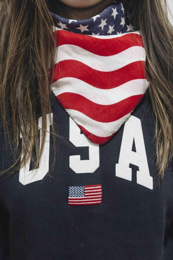 The U.S. flag has appeared on clothing as an icon or a print for decades, but is now being banned from appearing on apparel.