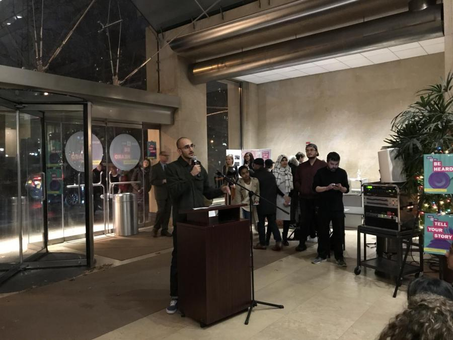 RJ Khalaf, president of the NYU Muslim Student Association, spoke at the Emergency Rally Against the Muslim Ban today in Kimmel Center.