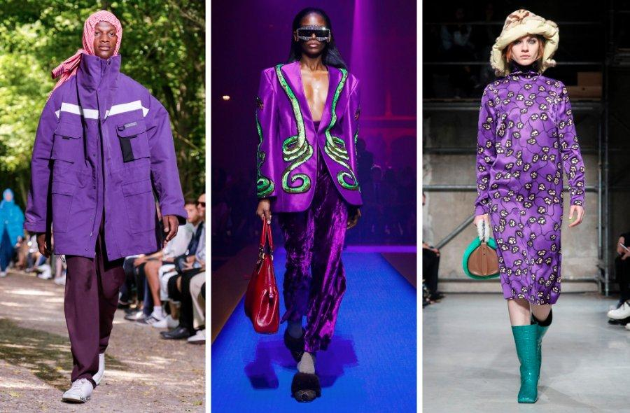 Left to right: Balenciaga, Gucci and Marni from various 2017 shows. Runways saw many brands showcasing Pantone's color of the year, ultraviolet purple.