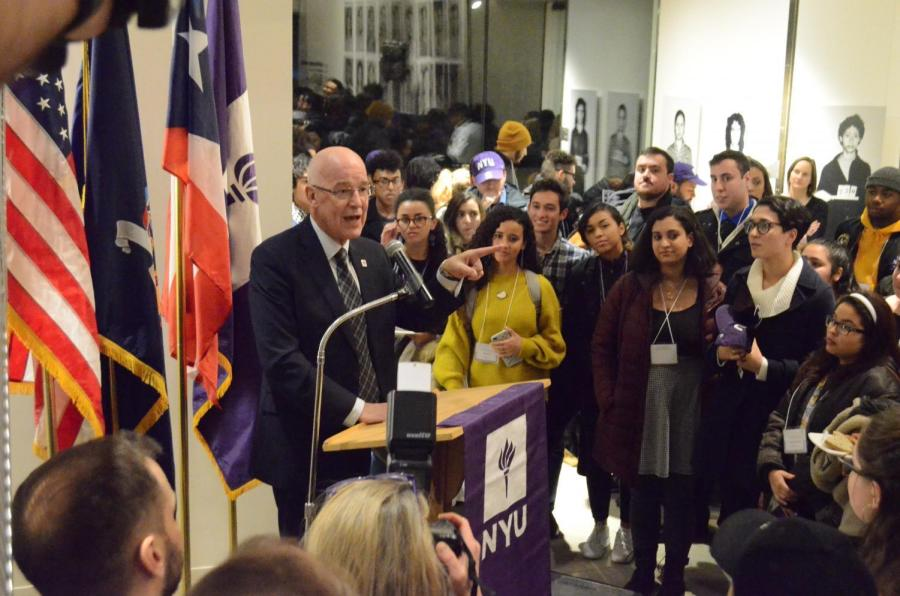 NYU President Hamilton speaking at the welcome reception for the new students from Puerto Rico on January 25th, 2018