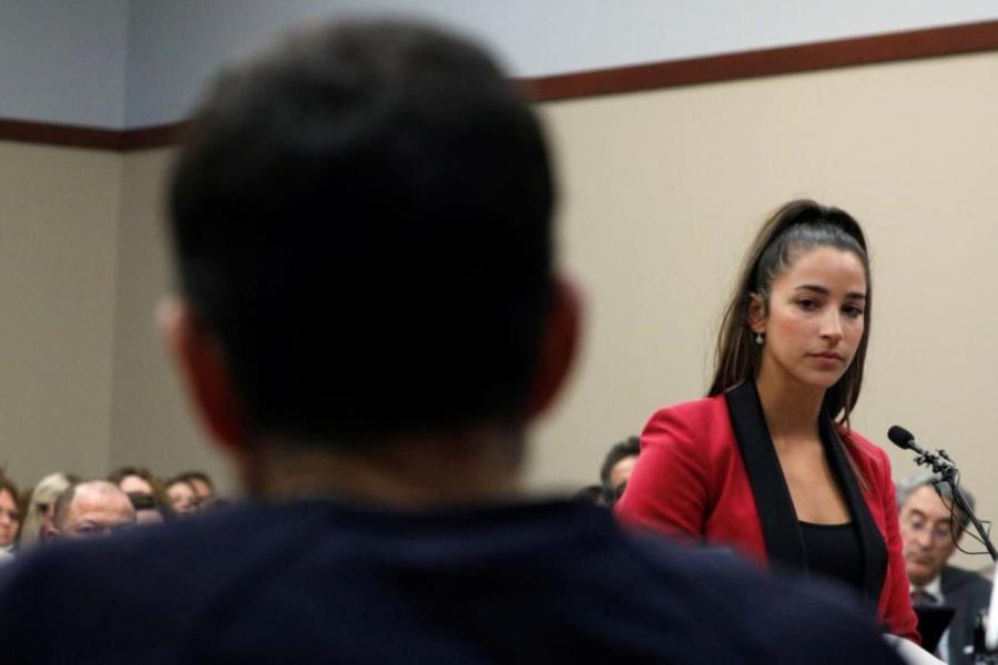 Olympic gymnast Aly Raisman testifying at Larry Nassar's sentencing on Friday, Jan. 19. Raisman is one of 100 plus women accusing Nassar of sexual assault.