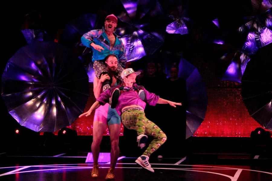 """Performers in """"RIOT,"""" an interactive dance experience showing in Skirball Center of Performing Arts."""