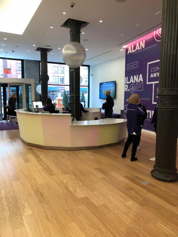 The reception desk in the new admission center is 360 degrees,