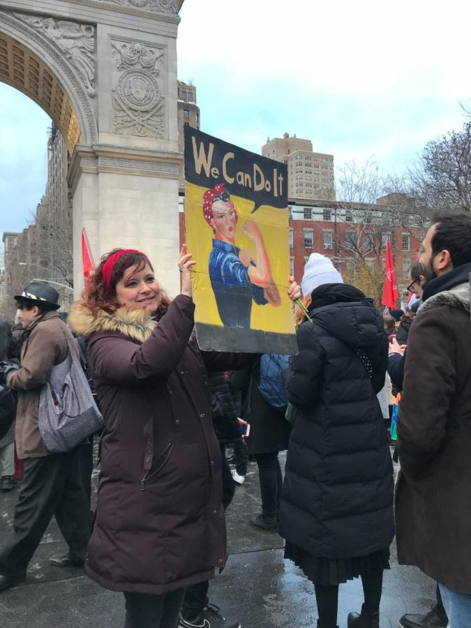 On International Women's Day, Mar. 8, people protested at Washington Square Park demanding women's rights.