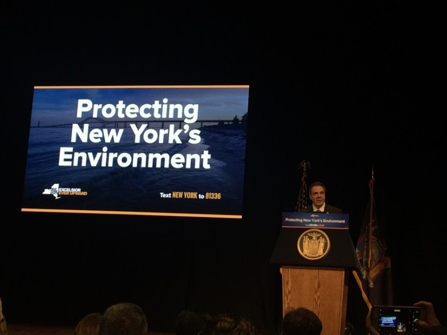 The first slide of the presentation about protecting New Yorks environment.