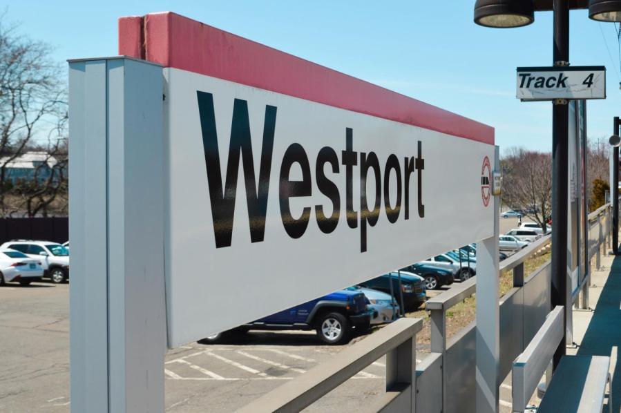 Westport Station off the Metro-North New Haven train. The fare to get to Westport from Grand Central Station is $13.50 off-peak and $18 during peak hours.