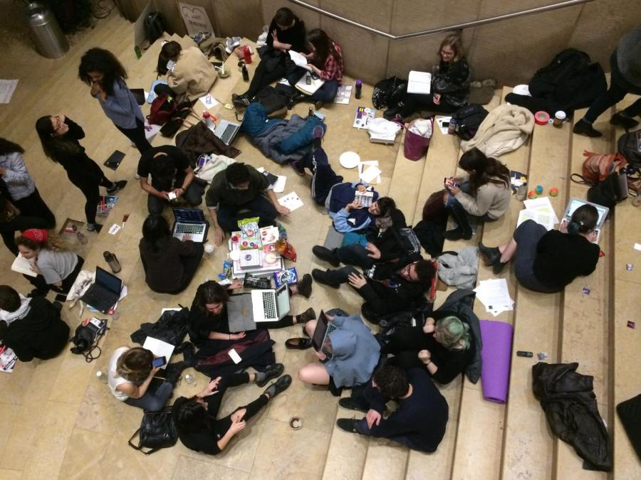 SLAM and NYU Divest protestors occupied Kimmel overnight on the night of April 9 —and for as long as it takes for their demands heard. With sleeping bags and supplies, they appear to be prepared for the long night ahead.