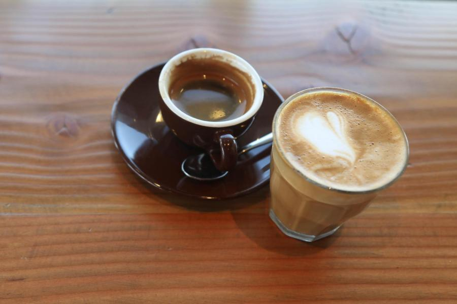 A cortado and an espresso from Shearwater Coffee in Fairfield.
