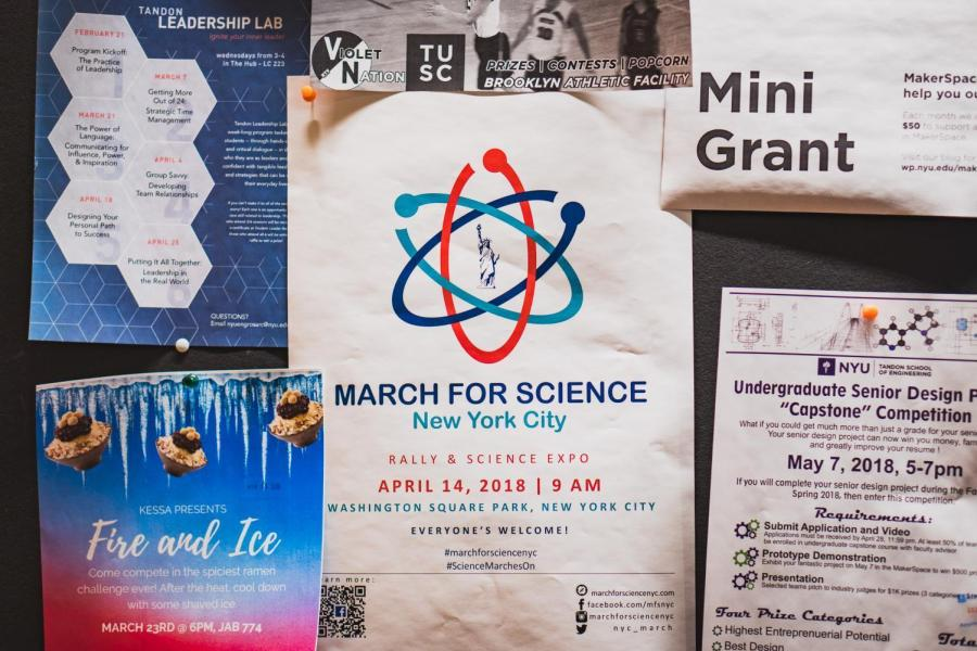 Poster of March for Science in the MakerSpace at Tandon.
