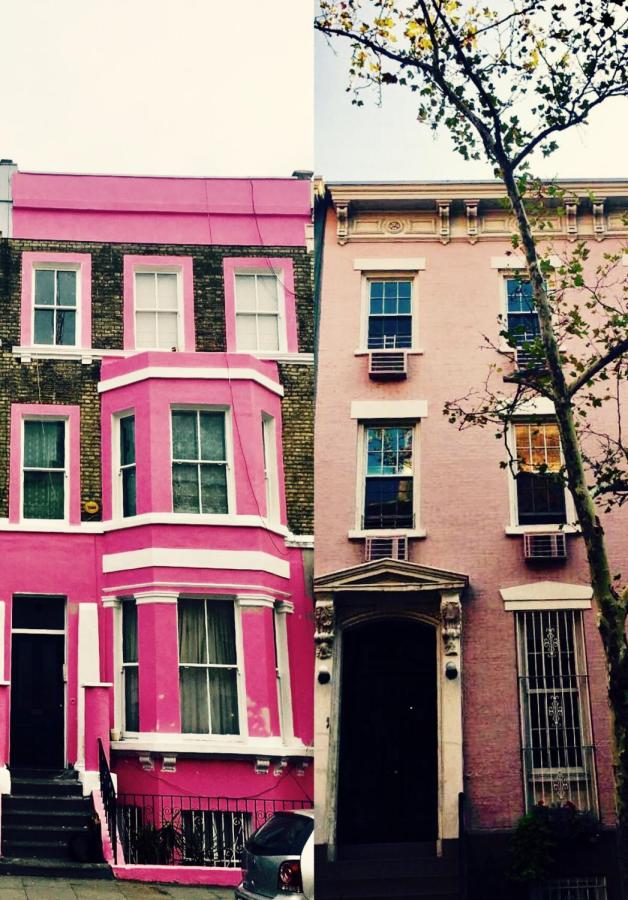 Apartments in New York and London. side by side.