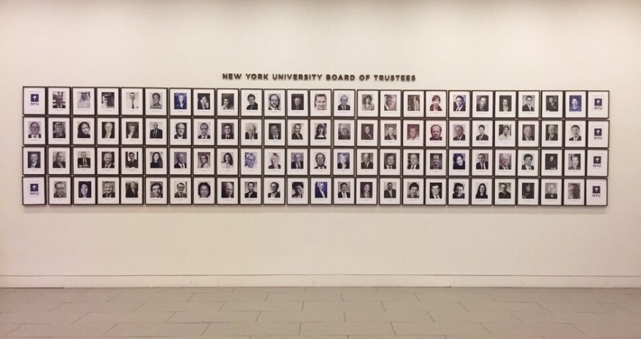 Portraits of NYUs Board of Trustees on display on the fourth floor of the Global Center for Academic and Spiritual Life.
