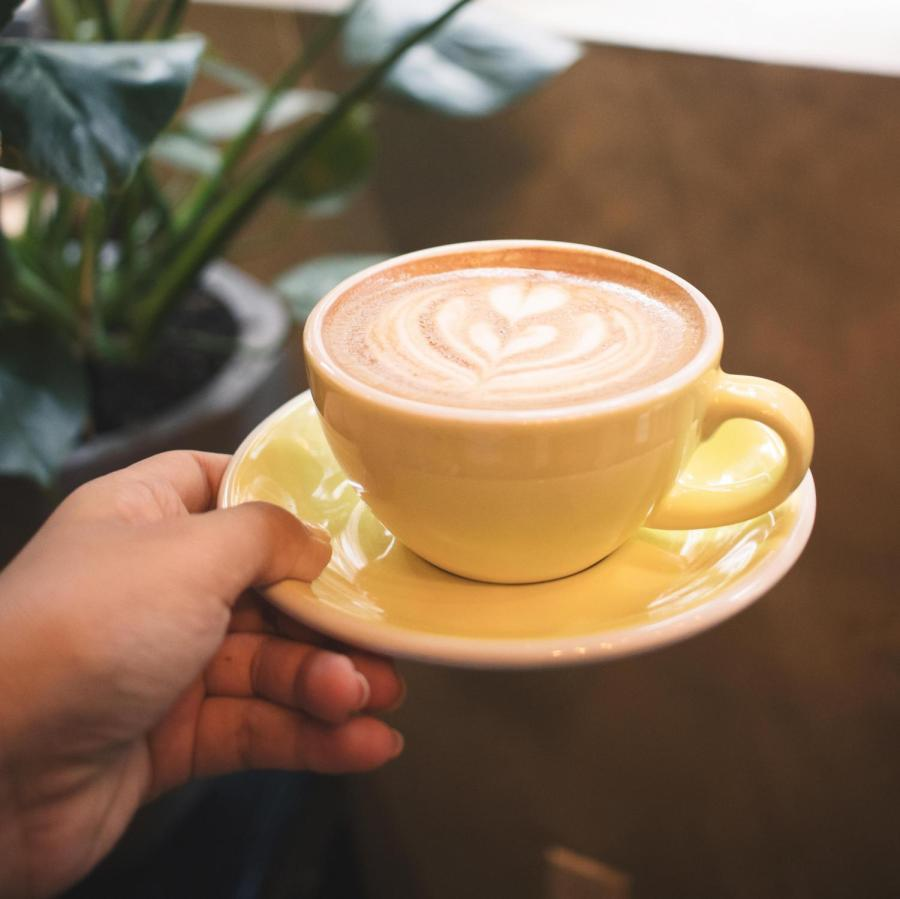 Lattes are often decorated with designs, such as hearts.