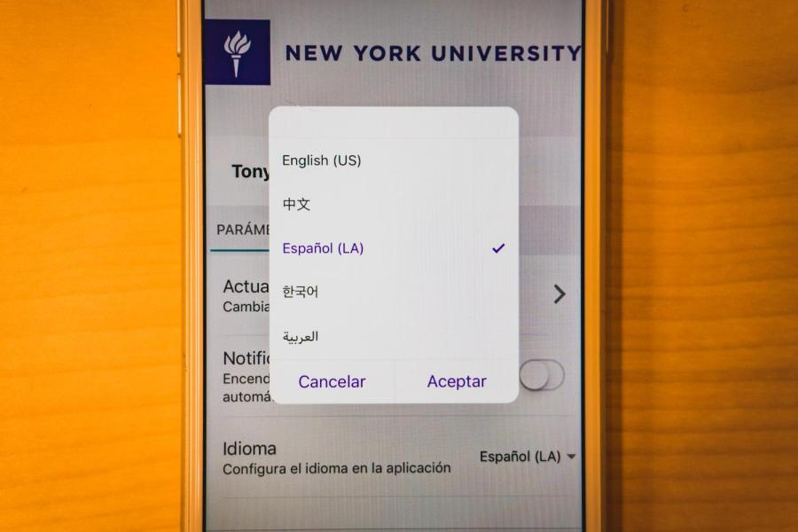 The NYU Wellness app is available in five languages.