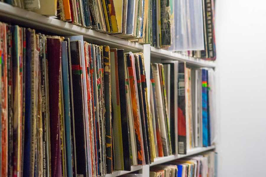 Rows of record sleeves (Photo by Alana Beyer)
