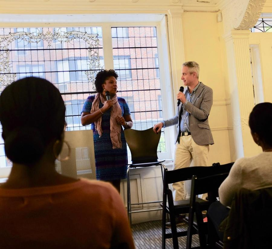 Tayari Jones (Left) and Darin Strauss (Right) engaged in discussion. (Photo by Claire Fishman)