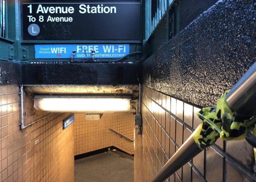 Caution tape remains after the shut down of the L train Tuesday afternoon.