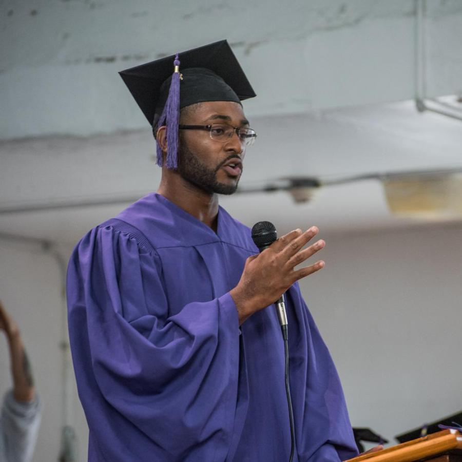 Rakeem Golson speaks at his graduation. (Photo by Sam Klein)