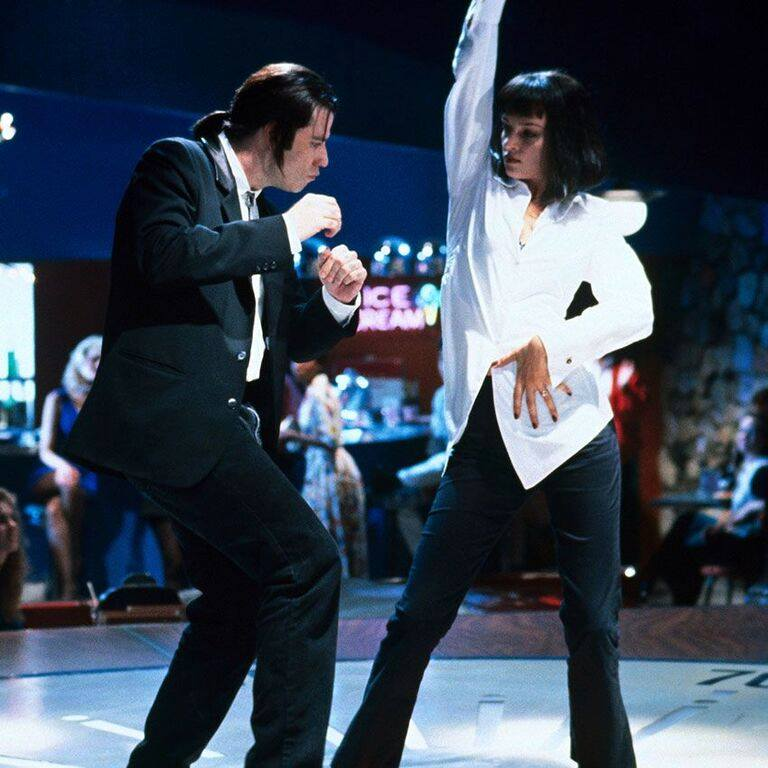 John Travolta and Uma Thurman in a scene from