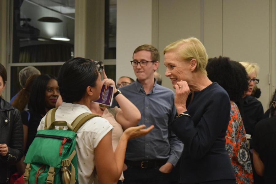 Cecile Richards (right), activist and former President of Planned Parenthood, had a sit-down conversation with NYU Professor Mitchell Moss on Tuesday.