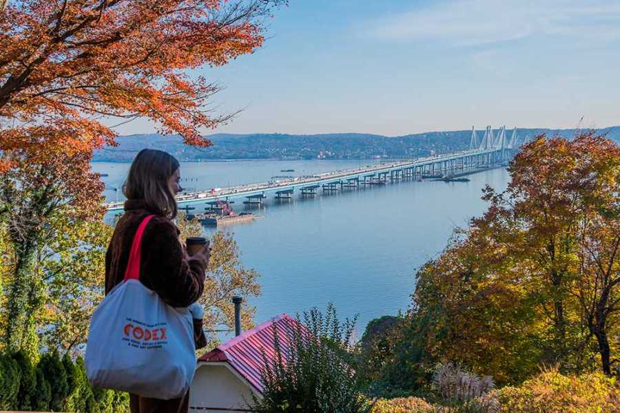 Gallatin junior Nina Lehrecke looks out at the Tappan Zee Bridge from her house in Rockland County, New York. Nina commutes to and from NYU at least once per week. (Photo by Sam Klein)