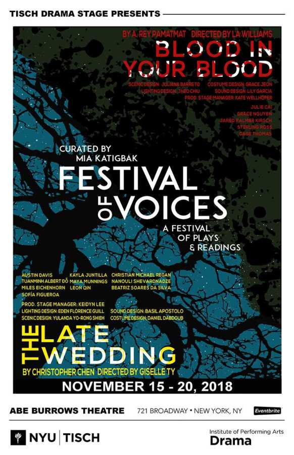 The poster for Tisch Festival of the Voices. (Courtesy of NYU Tisch Institute of Performing Arts)