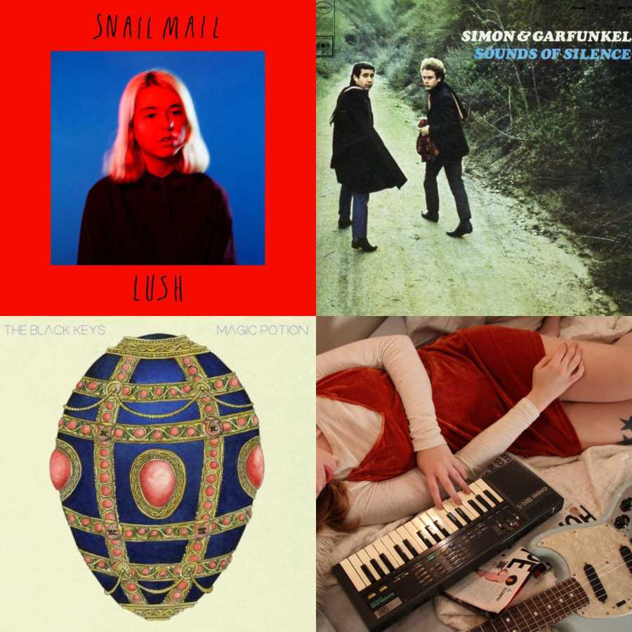 """From left to right, clockwise: """"Lush"""" by Snail Mail, """"Sounds of Silence"""" by Simon and Garfunkel, """"Magic Potion"""" by The Black Keys and """"Collection"""" by Soccer Mommy. (via spotify.com)"""