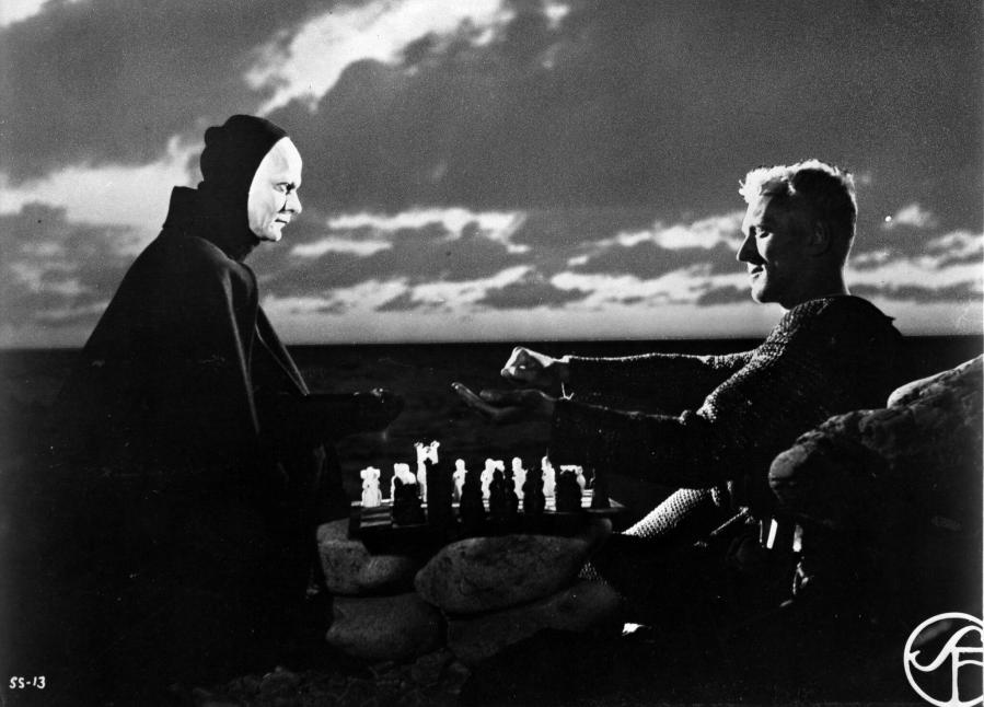 Bengt Ekerot and Max von Sydow in The Seventh Seal, playing a chess match of life and death. (Courtesy of Nico Chapin [CMPR])