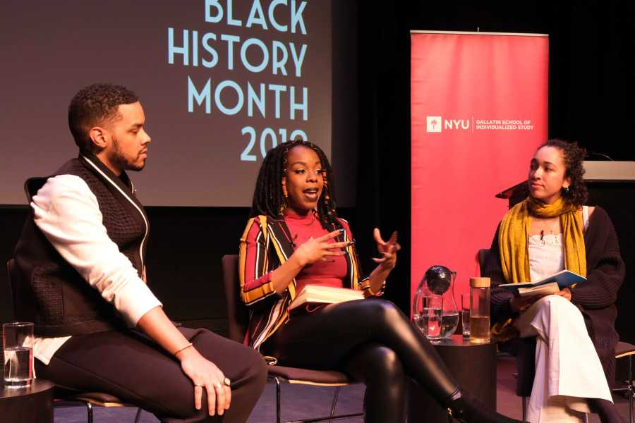 Panelists Kleaver Cruz and Jewel Cadet discuss intersectional politics and activism with moderator Ayasha Guerin. (Photo by Elaine Chen)