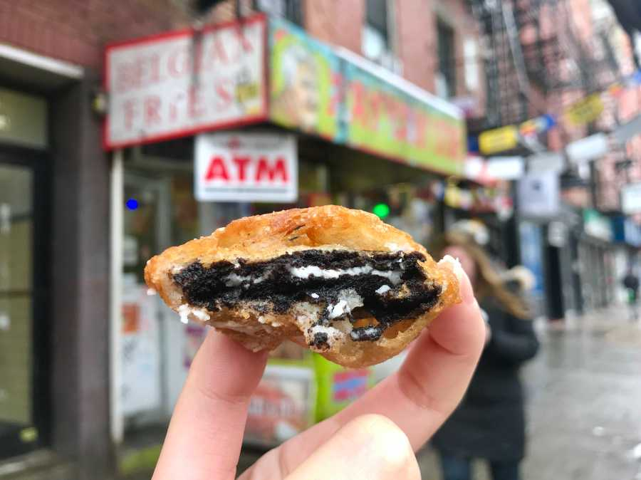 Fried Oreo, a signature snack of Ray's Candy Store, a tiny, hidden place near Tompkins Square Park. (Photo by Elaine Chen)