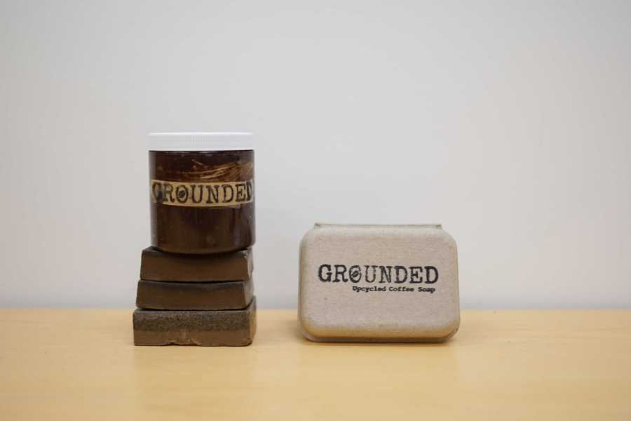 NYU student Parker Reposa started a company called Grounded which makes upcycled coffee soap. (Staff Photo by Min Ji Kim)