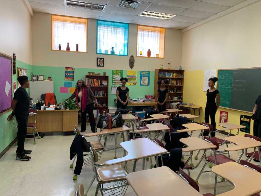 Elementary school students participate in African dance class at The Learning Tree Cultural Preparatory School in the Bronx. (Courtesy of A'nisa Megginson)