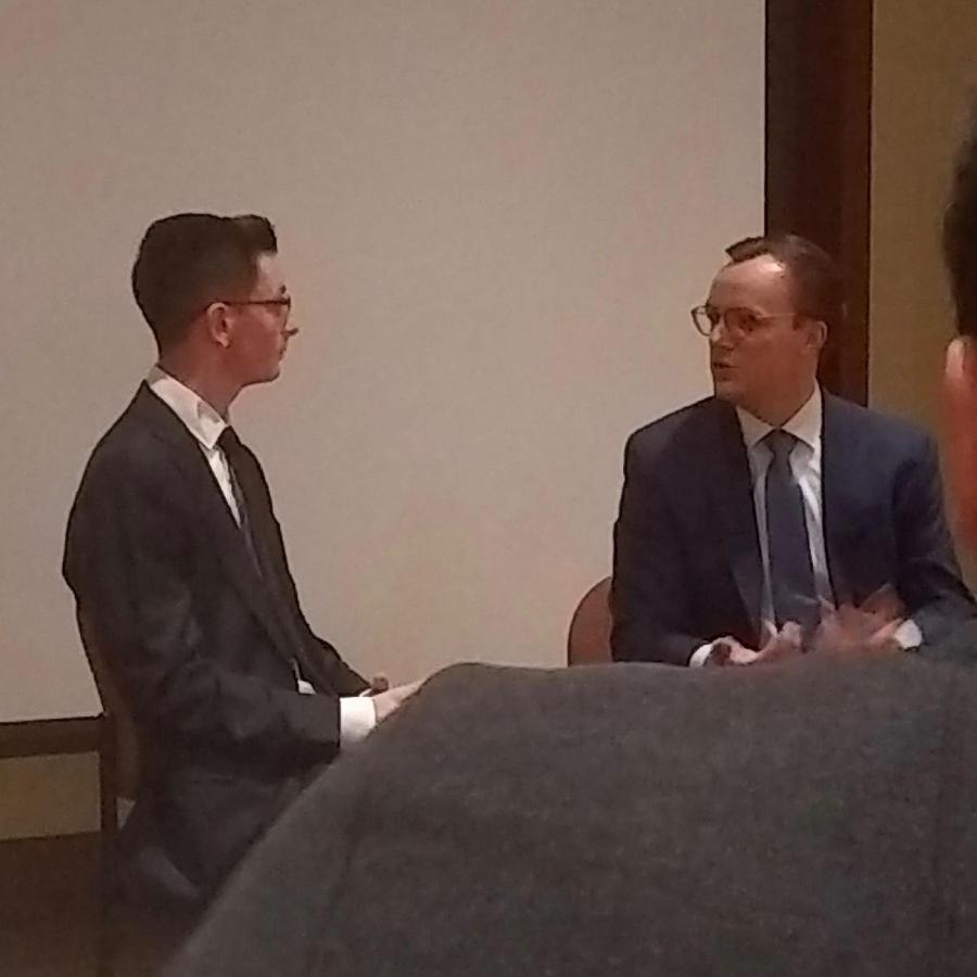Chasten Buttigieg recalls paying off student loans at an NYU Democrats event .  (Photo by Alexandria Johnson)