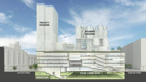 New sports facilities are included in the layout plan for the in-progress NYU building on Mercer St. (Graphic via NYU)