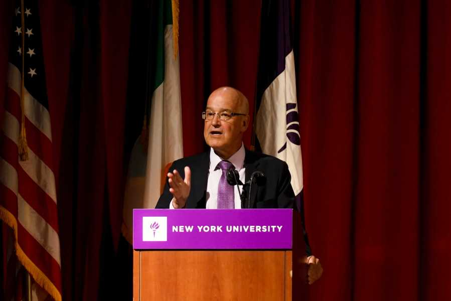 NYU President Andy Hamilton delivers opening remarks and introduces President Higgins. (Staff Photo by Min Ji Kim)